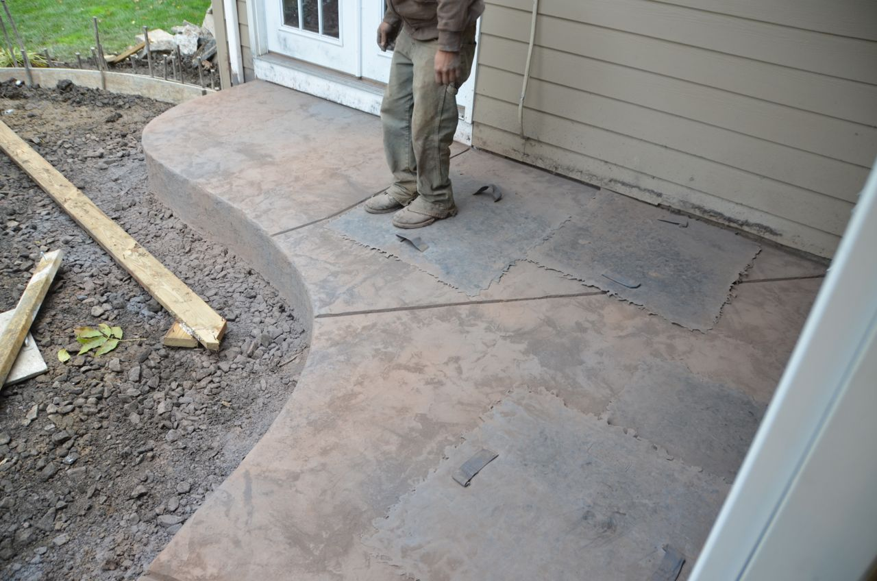 Stamped Rubber Flooring : Remove old deck and concrete patio replace with stamped