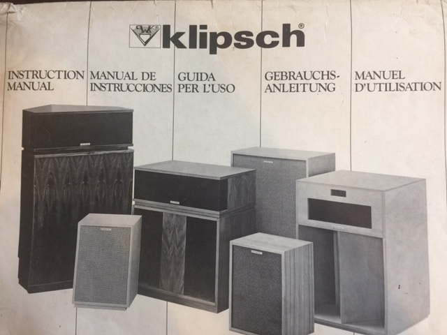 Vintage Klipsch Speaker Instruction Manual