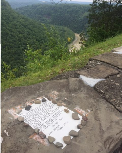 An old friend left a note at Letchworth State Park